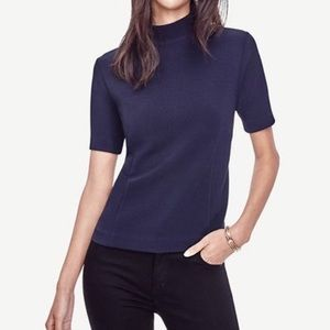 Elbow Sleeve Mock Turtle Neck Blouse